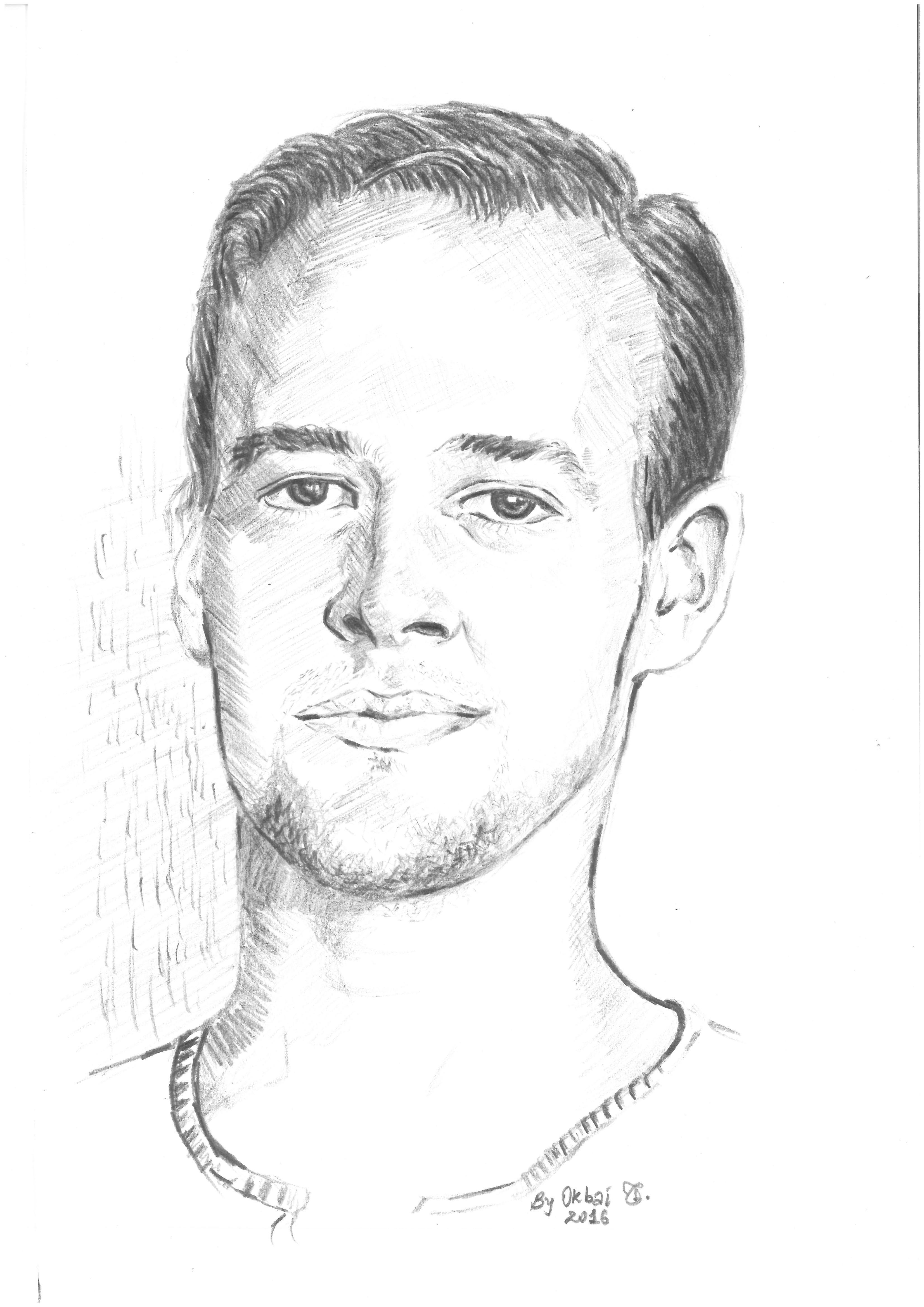 Ein Bild zeigt ein gezeichnetes Porträt von Maximilian Pfeifer