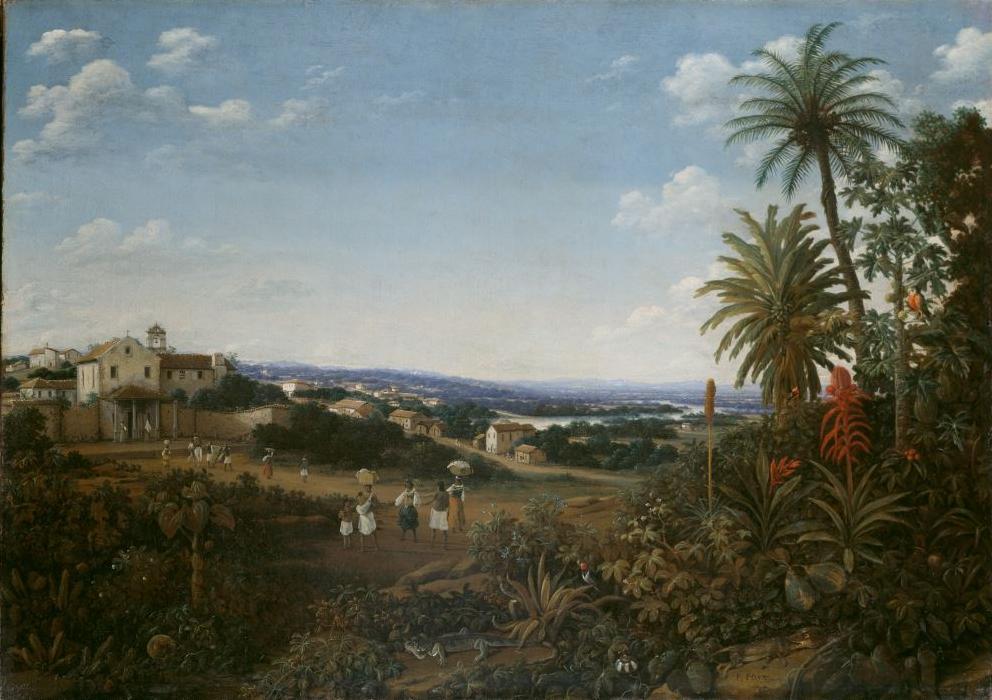 Eine Aufnahme zeigt das Gemälde Franziskanerkloster im brasilianischen Igaracu von Franz Post