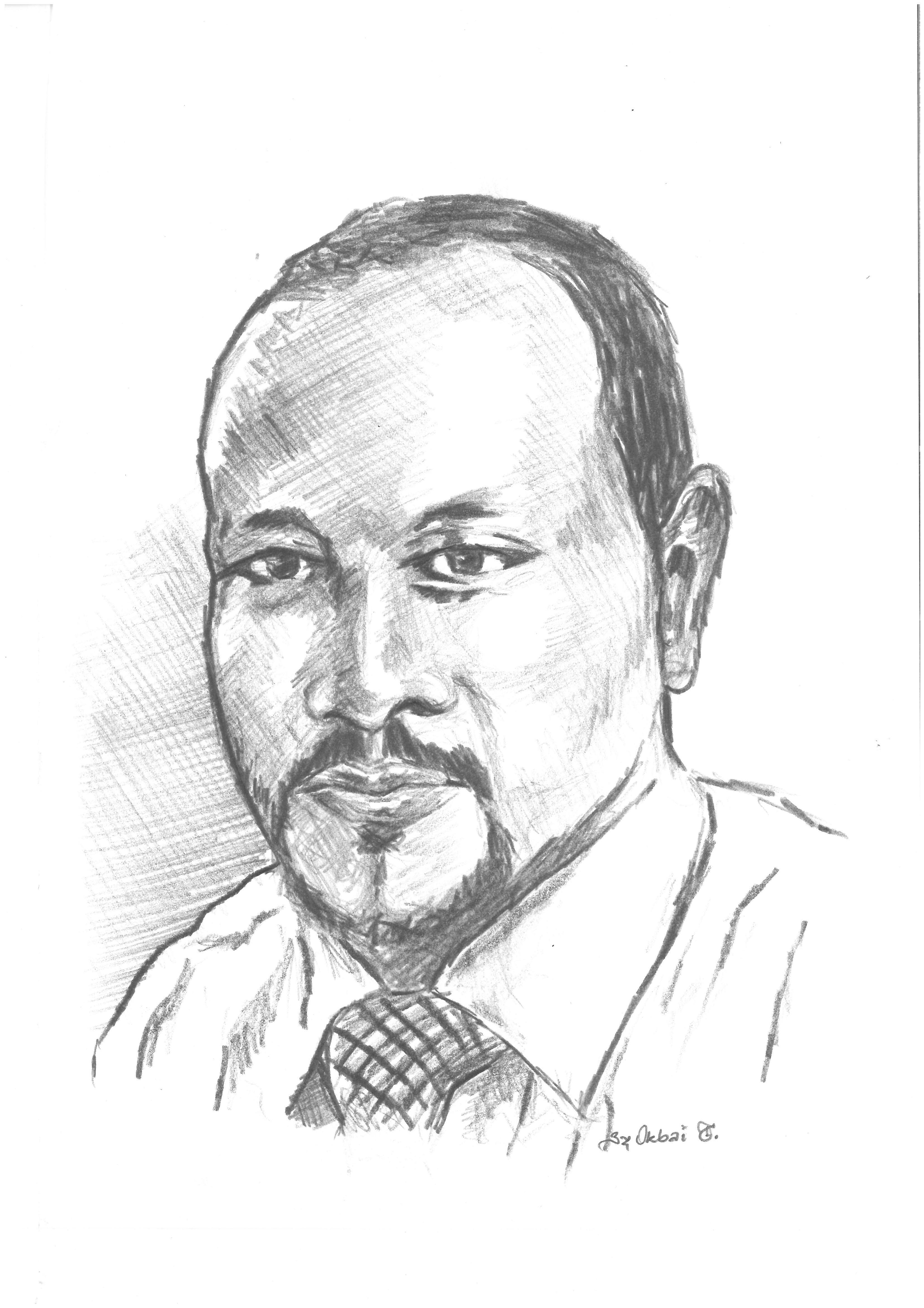 Das Bild zeigt ein gezeichnetes Porträt von Mesfin Mulugeta Woldegiorgis