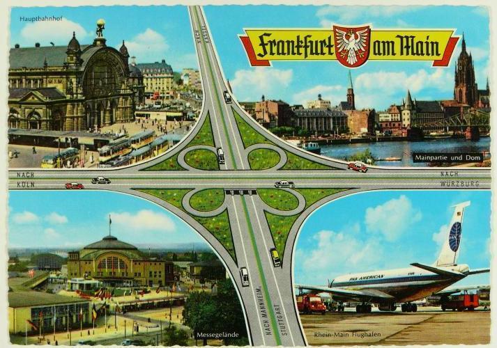 Ansichtskarte des Frankfurter Kreuzes, in den Bildecken der Hauptbahnhof, Anischt des Mainufers, die Messehalle, der Flughafen