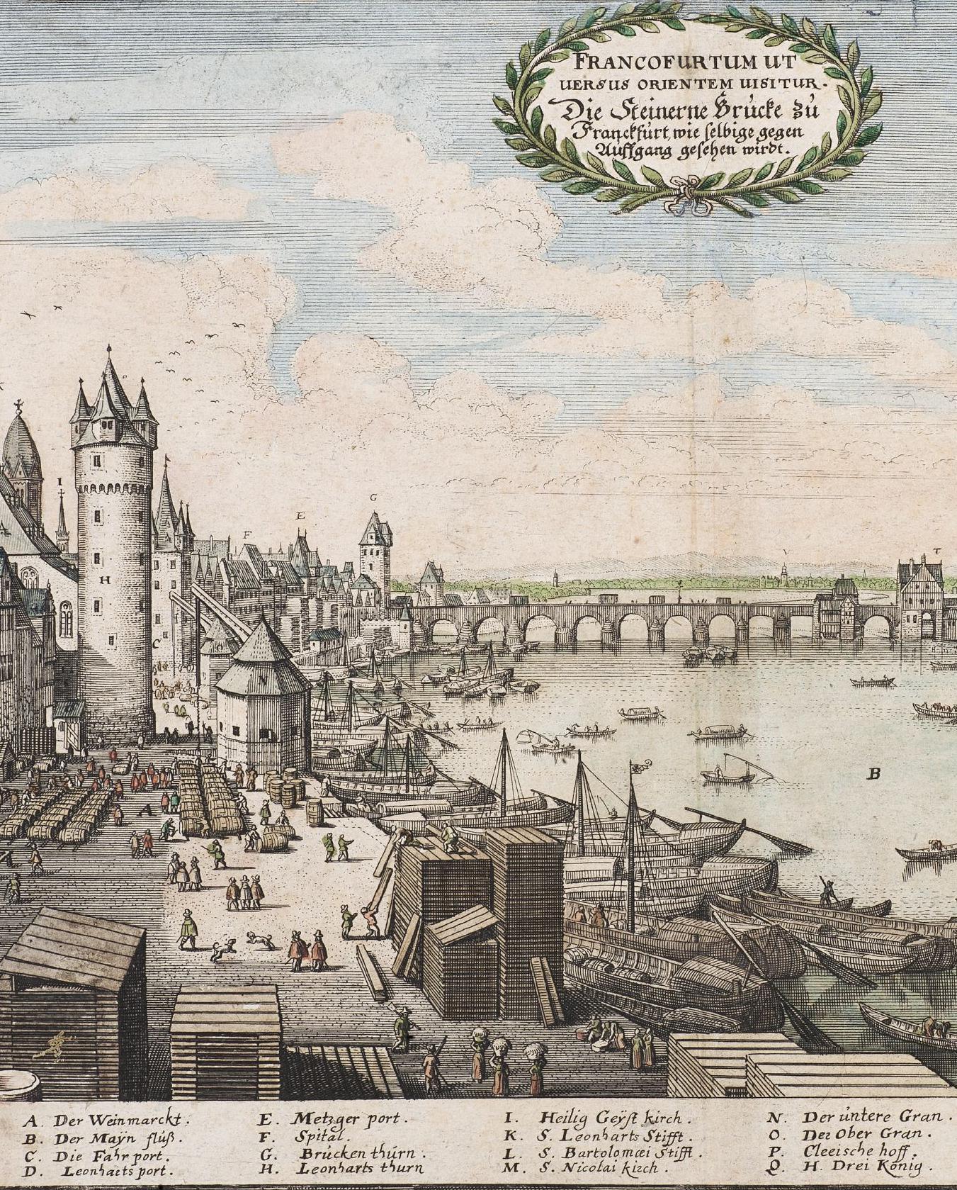Mathias Merian der Ältere Die Steinerne Brücke zu Frankfurt im Jahr 1646