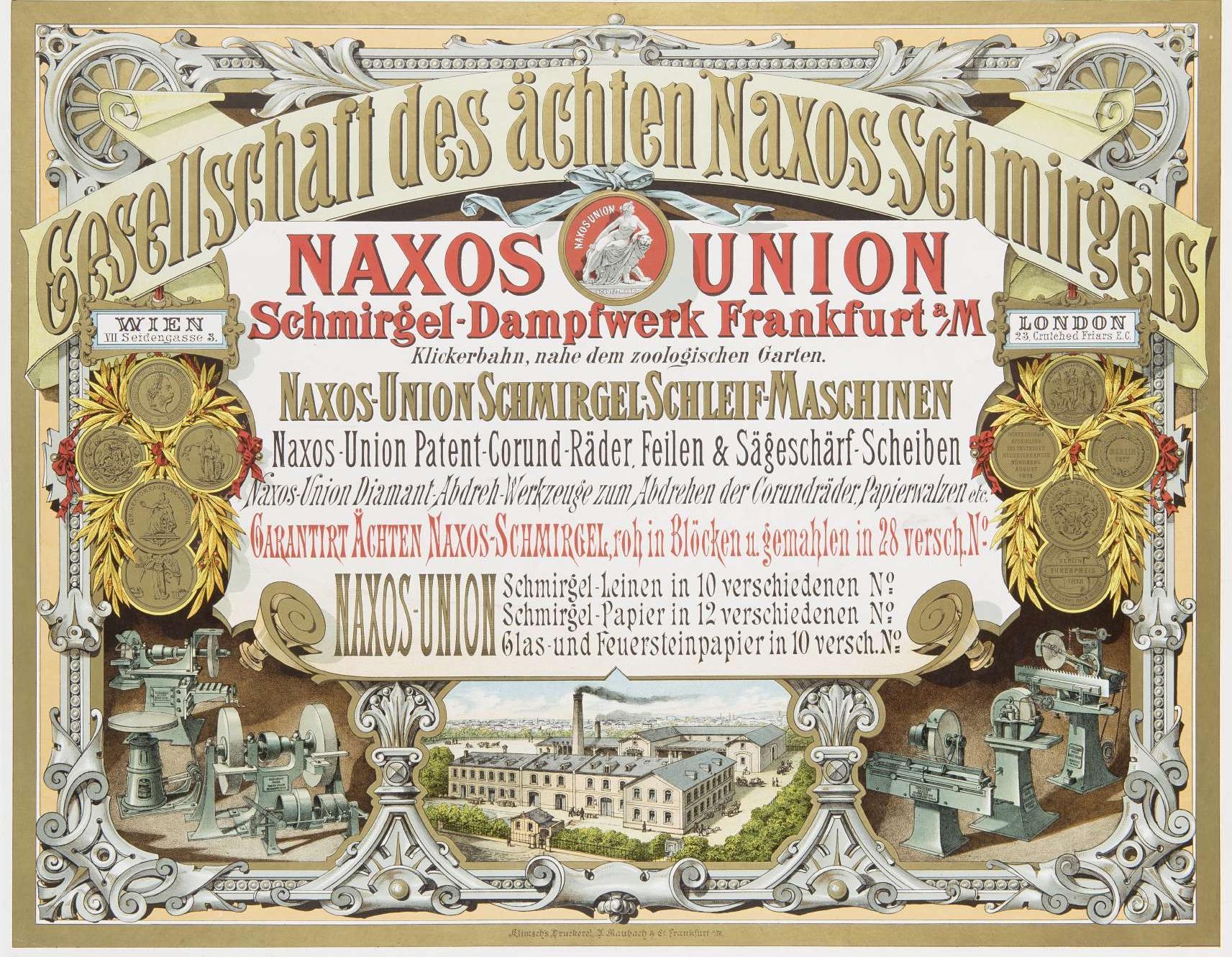 Plakat der Gesellschaft des ächten Naxos Schmirgels, 1880