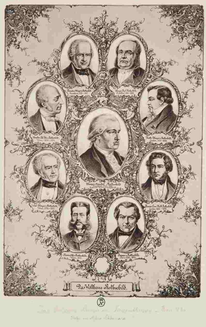 Das historische Plakat zeigt den Stammbaum der Familie Rothschild.