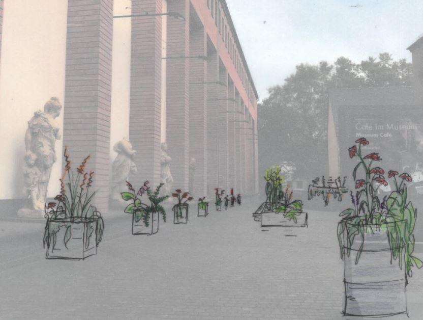 Skizze vom bepflanzten Museumsplatz