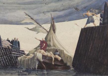 Bühnenbildentwurf von Elio G. Frigerio von 1977 für Giuseppe Verdis Othello: Einfahrt Othellos in den Hafen. Tusche, Aquarell und Pastell auf Papier