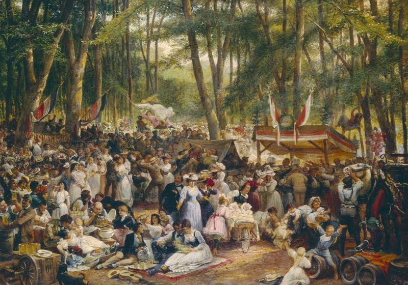 Zu sehen ist ein Gemälde vom Frankfurter Wäldchestag aus dem Ende des 19. Jahrhunderts