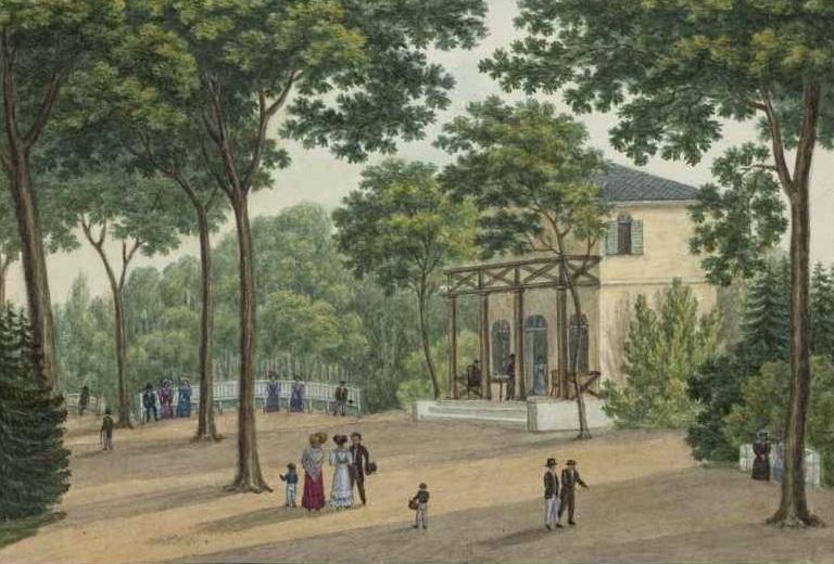 Johann Friedrich Morgenstern zugeschrieben, Kurhäuschen in der Anlage zwischen dem Kurhäuschen und  Eschenheimer Tor, 1837, © HMF, Horst Ziegenfusz