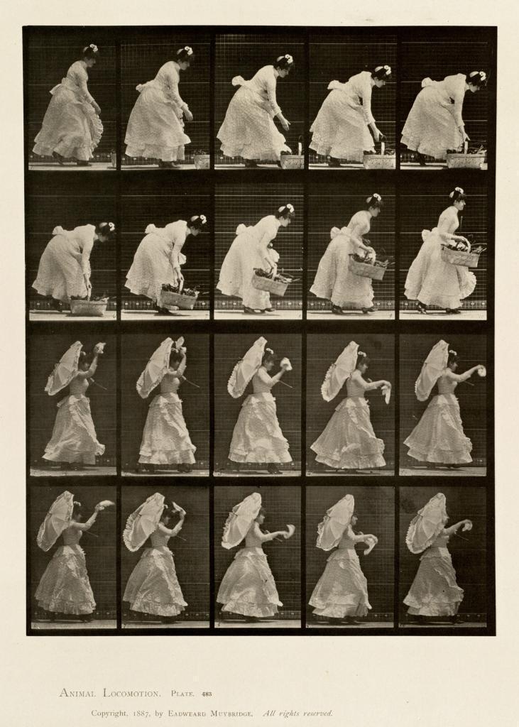 mehrere Bilder vom Bewegungsablauf einer Frau, sie hebt ein Taschentuch auf