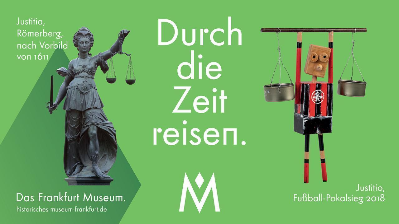 HMF Kampagne Durch die Zeit reisen mit Justitia und Justitio