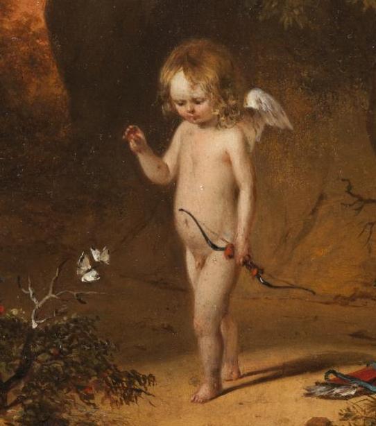 Ein Gemälde zeigt einen kleinen Liebesgott mit Flügeln, der einen Schmetterling fängt